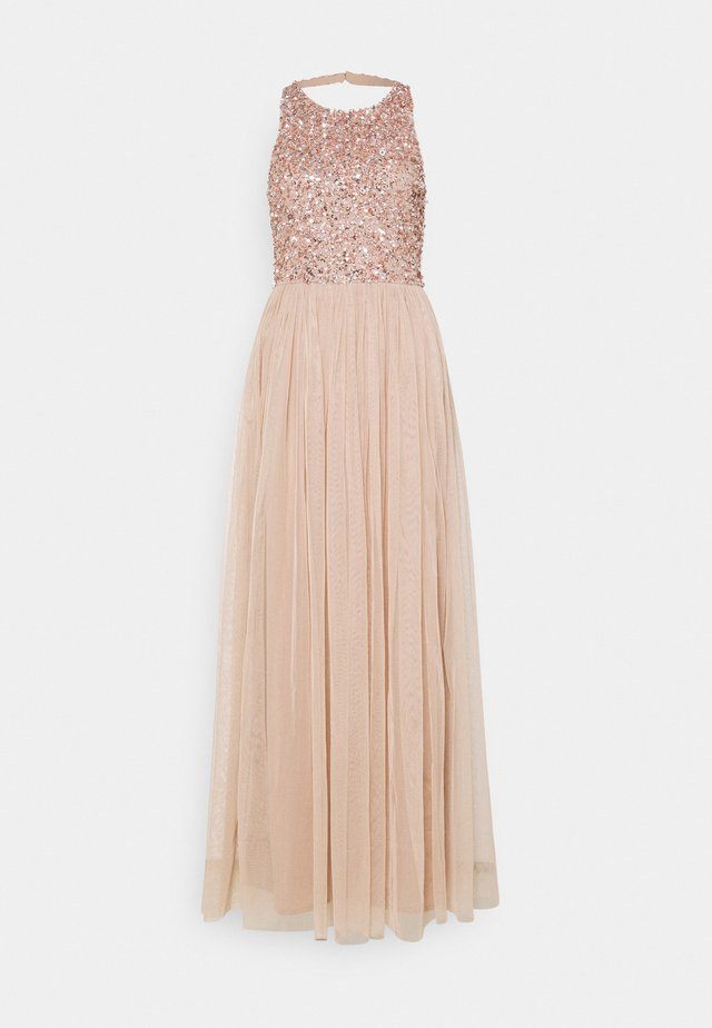 CUT OUT BACK DELICATE SEQUIN MAXI DRESS - Robe de cocktail - taupe blush