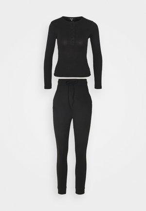 BUTTON LONG SLEEVE LOUNGE SET - Pyžamo - black