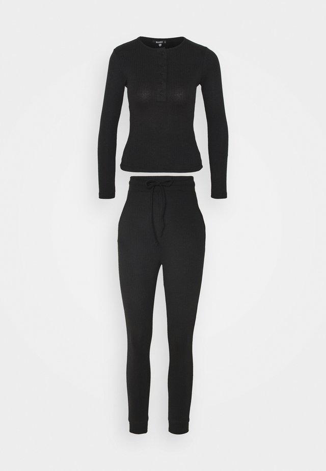 BUTTON LONG SLEEVE LOUNGE SET - Pyjama - black