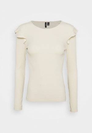 VMAVA RNECK FRILLS - Long sleeved top - birch