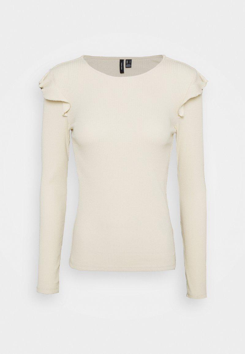 Vero Moda Petite - VMAVA RNECK FRILLS - Long sleeved top - birch
