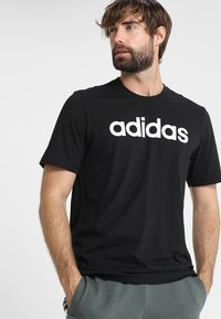 adidas Performance - LIN TEE - T-Shirt print - black/white - 0