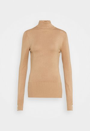 PEARL BUTTON CUFF ROLL NECK - Maglione - oatmeal