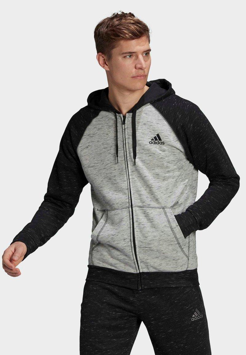 adidas Performance - SMALL LOGO - Felpa con zip - grey