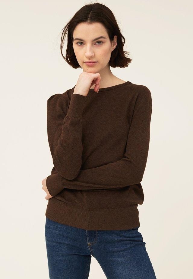 YVETTE COTTON/BAMBOO - Stickad tröja - brown