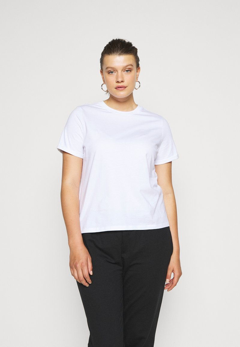 Pieces Curve - PCRIA FOLD UP SOLID TEE - Basic T-shirt - bright white