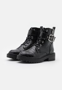 New Look - BEAM LACE UP CHUNKY - Cowboystøvletter - black - 2