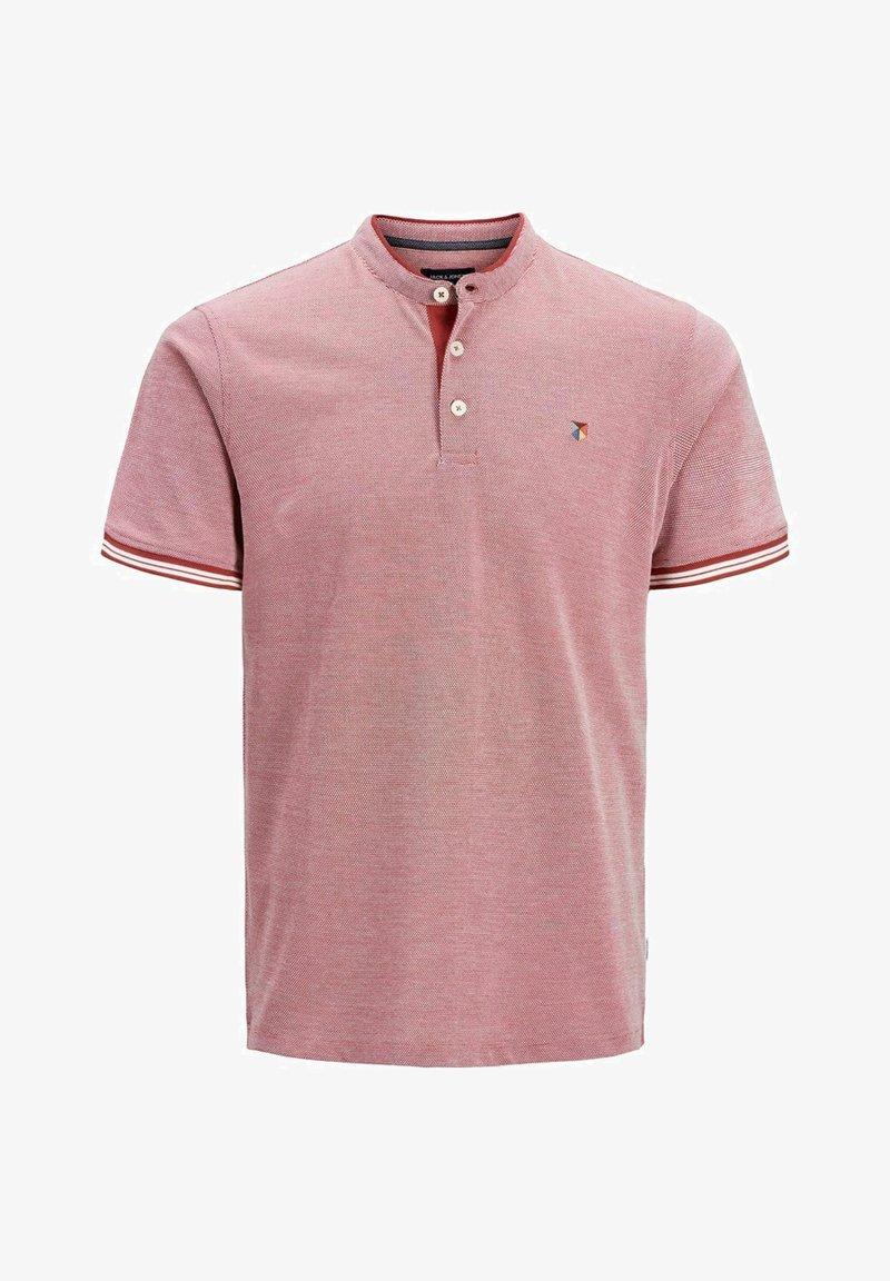 Jack & Jones PREMIUM - MANDARINKRAGEN - Print T-shirt - brick red