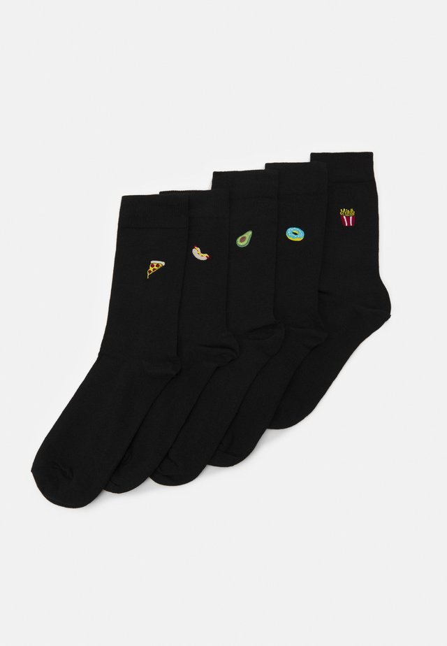 FOOD EMBROIDERY 5 PACK - Calze - black
