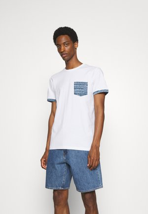 SLHREGADAO O NECK TEE - T-shirt z nadrukiem - white