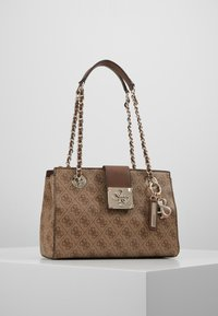 Guess - LOGO CITY SML SOCIETY SATCHEL - Handtas - brown - 0