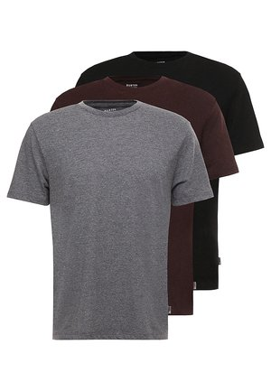 BASIC CREW 3 PACK MULTIPACK - T-shirt basic - black/charcoal/burgundy