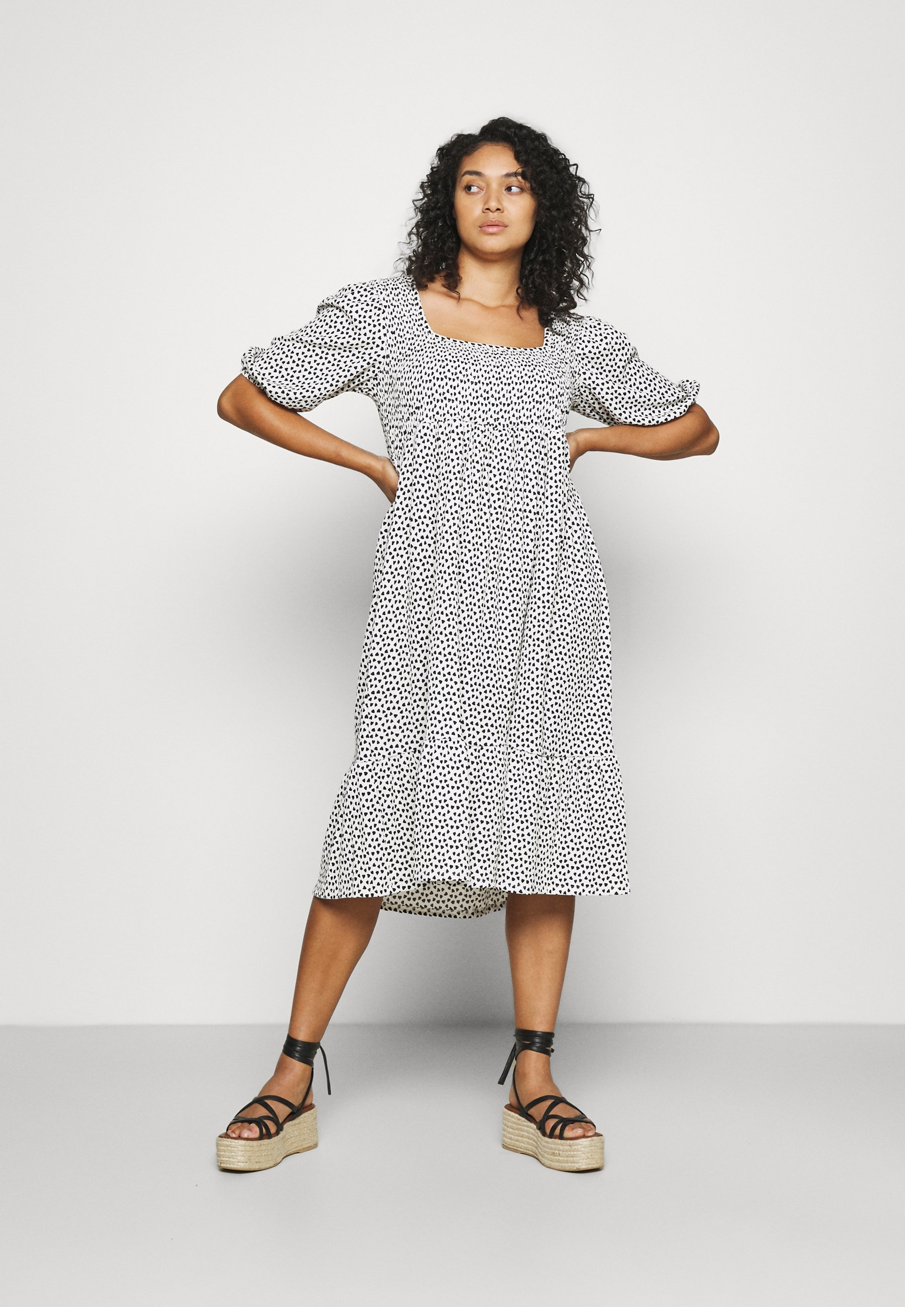 Women WAFFLE SQUARE NECK TIERED MIDI DRESS - Day dress