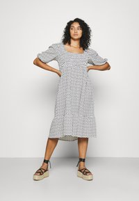 Simply Be - WAFFLE SQUARE NECK TIERED MIDI DRESS - Day dress - off-white - 0
