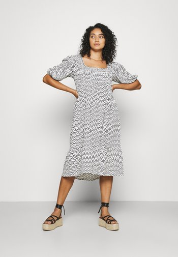 WAFFLE SQUARE NECK TIERED MIDI DRESS - Day dress - off-white