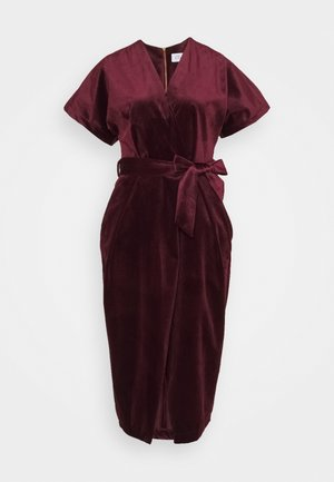 KIMONO WRAP OVER DRESS - Cocktail dress / Party dress - wine