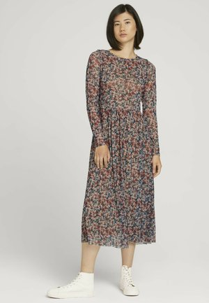 Day dress - pink blue multicolor ditsy