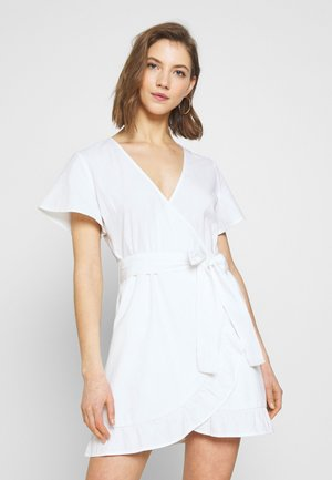 WRAPPED FRILL DRESS - Korte jurk - white