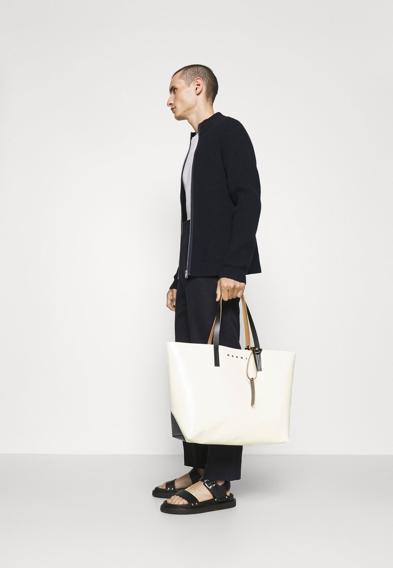 Marni - TRIBECA SHOPPING BAG UNISEX - Shopping bag - cement/coffee/black