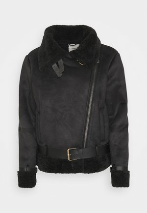 OBJMANDY JACKET - Faux leather jacket - black