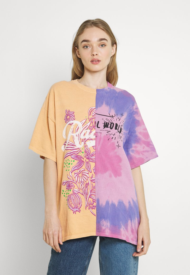 BDG Urban Outfitters - SPLICED TIE DYE DAD TEE - Print T-shirt - pink