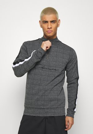 PANELLED CHECKED TRACKTOP - Sweatshirt - charcoal