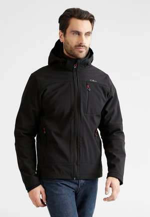 MAN JACKET ZIP HOOD - Softshelljacka - nero