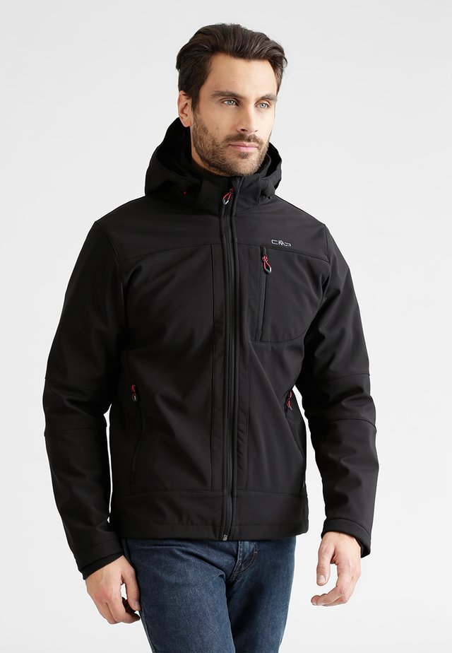 MAN JACKET ZIP HOOD - Softshellová bunda - nero
