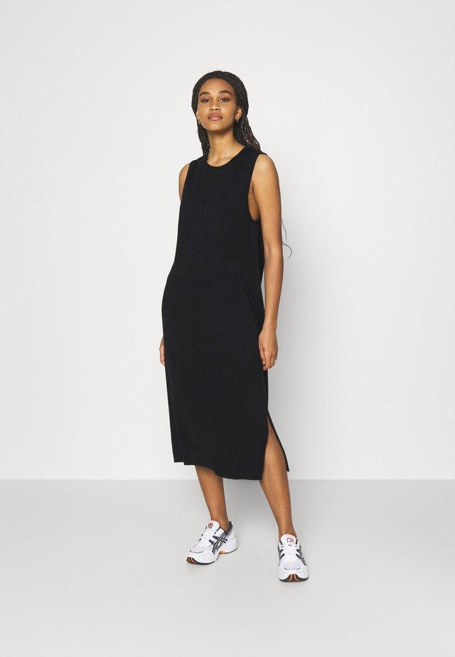 SLEEVELESS SIDE SLIT DRESS - Korte jurk - black