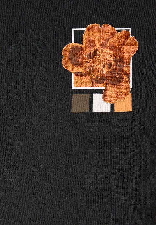 YOURTURN T-shirt z nadrukiem - black W kwiatki Odzież Damska WQLM YA 1