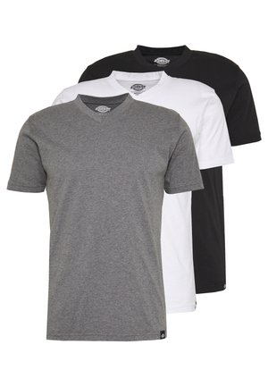 V-NECK PACK 3 - Basic T-shirt - black/grey/white