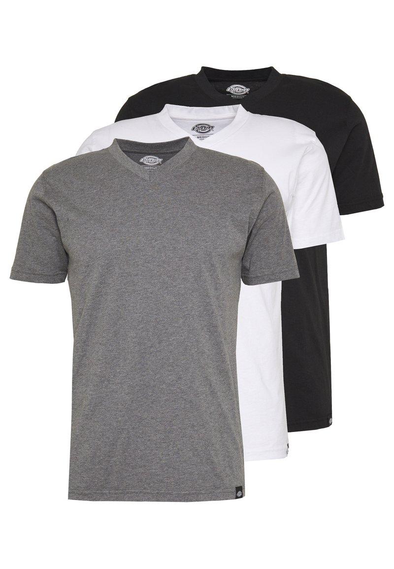 Dickies - V-NECK PACK 3 - Basic T-shirt - black/grey/white