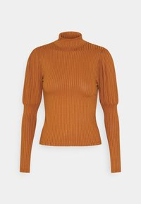 New Look - CARLEY RIB PUFF MUTTON SLEEVE STAND NECK - Long sleeved top - rust - 0