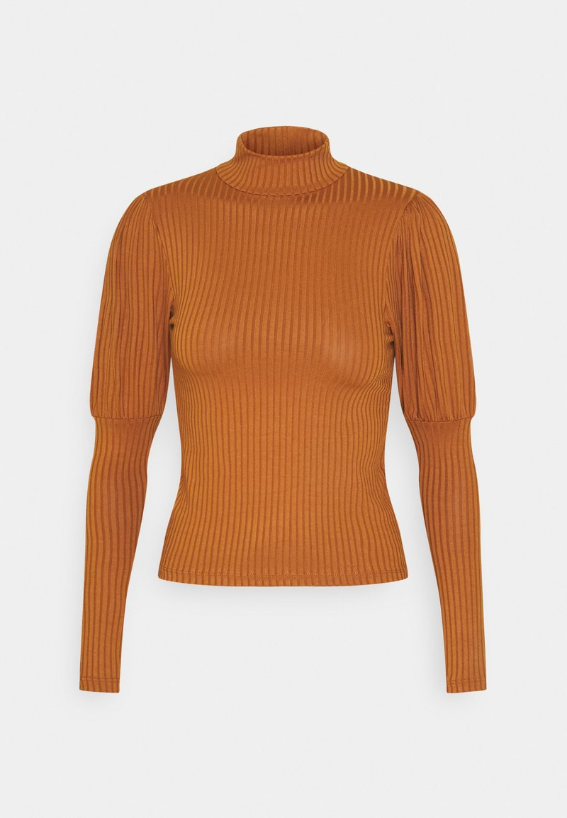 New Look - CARLEY RIB PUFF MUTTON SLEEVE STAND NECK - Long sleeved top - rust