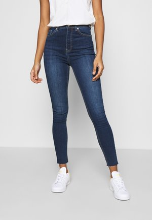 HIGH WAIST RAW HEM - Jeans Skinny Fit - dark blue