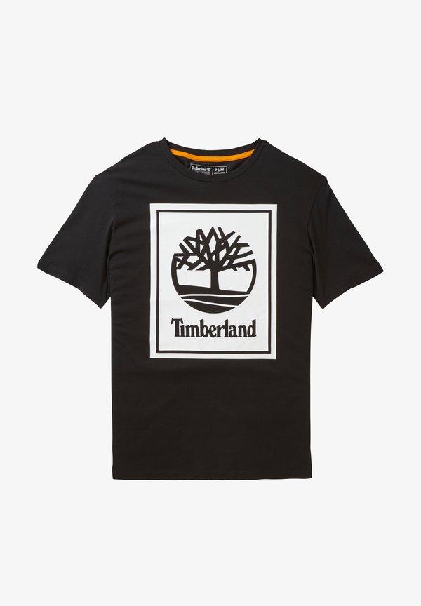 Timberland YC CORE+ SS STACK - T-shirt z nadrukiem - black-white/czarny Odzież Męska MDSQ