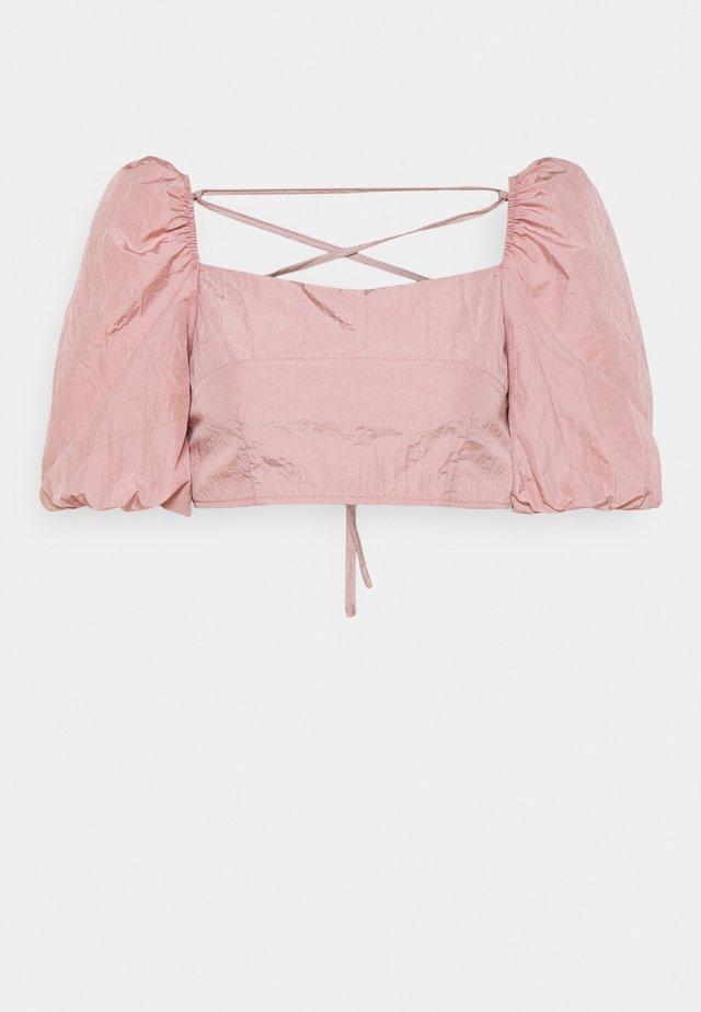 PUFF SLEEVE TIE BACK DETAIL CROP TOP - Blouse - pink