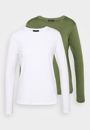 2 PACK - Long sleeved top - khaki/white