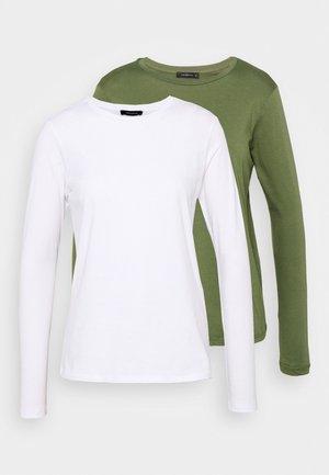 2 PACK - Top sdlouhým rukávem - khaki/white