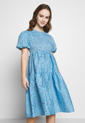 FLORAL SMOCK PUFF SLEEVE DRESS - Day dress - blue