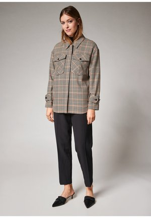 Long sleeved top - brown woven check