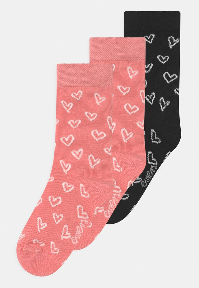 HEARTS 3 PACK - Calze - rosa/black