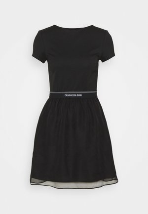 LOGO WAISTBAND DRESS - Žerzejové šaty - black