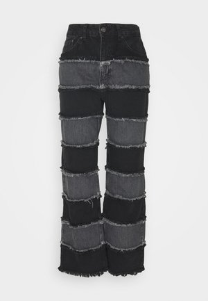 STRIPE PANEL SEAM - Straight leg jeans - charcoal/grey