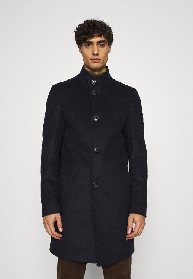 SOLID STAND UP COLLAR COAT - Classic coat - blue
