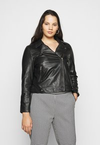 Selected Femme Curve - SLFKATTY  JACKET - Kožená bunda - black - 1