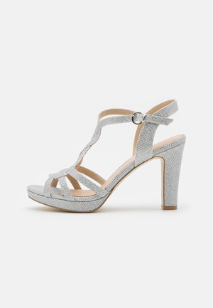LEATHER - High heeled sandals - silver