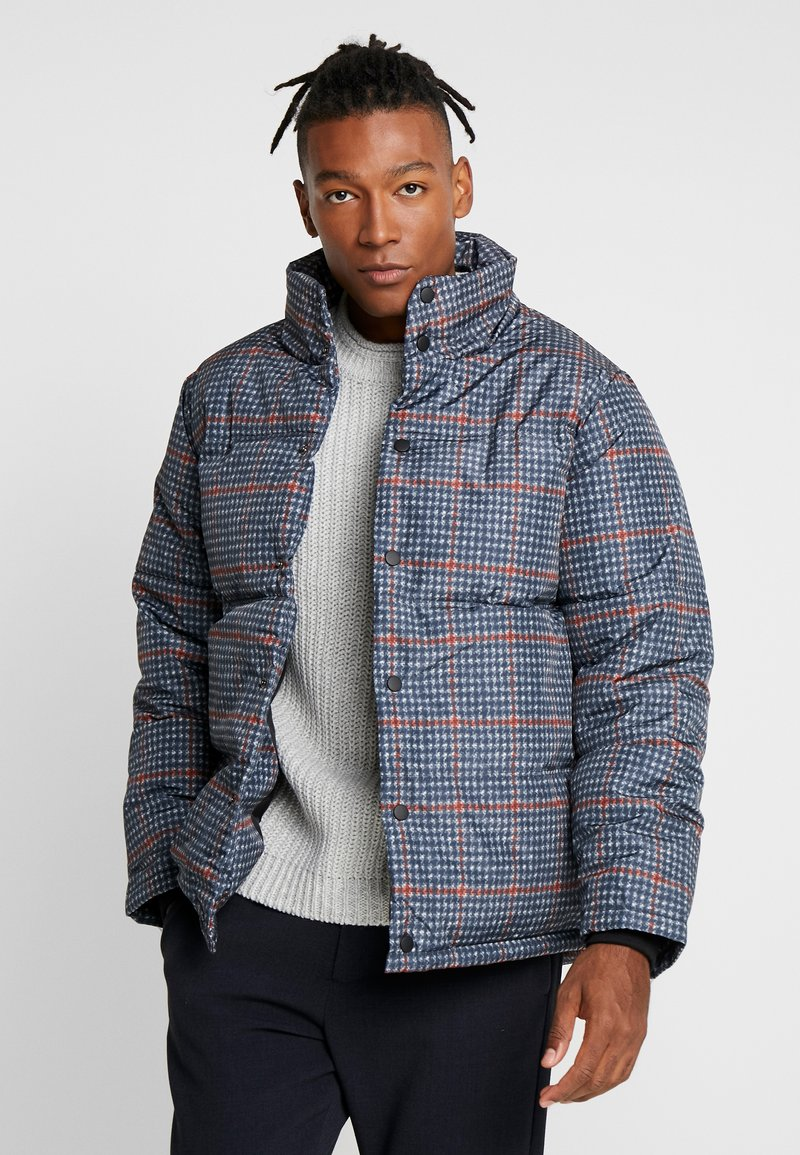 Topman - PLAID CHECK PUFFER - Winterjas - blue