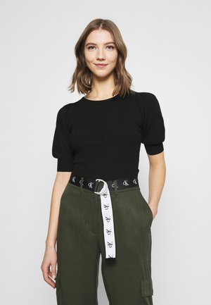 STRUCTURED PUFF SLEEVE - Triko s potiskem - black