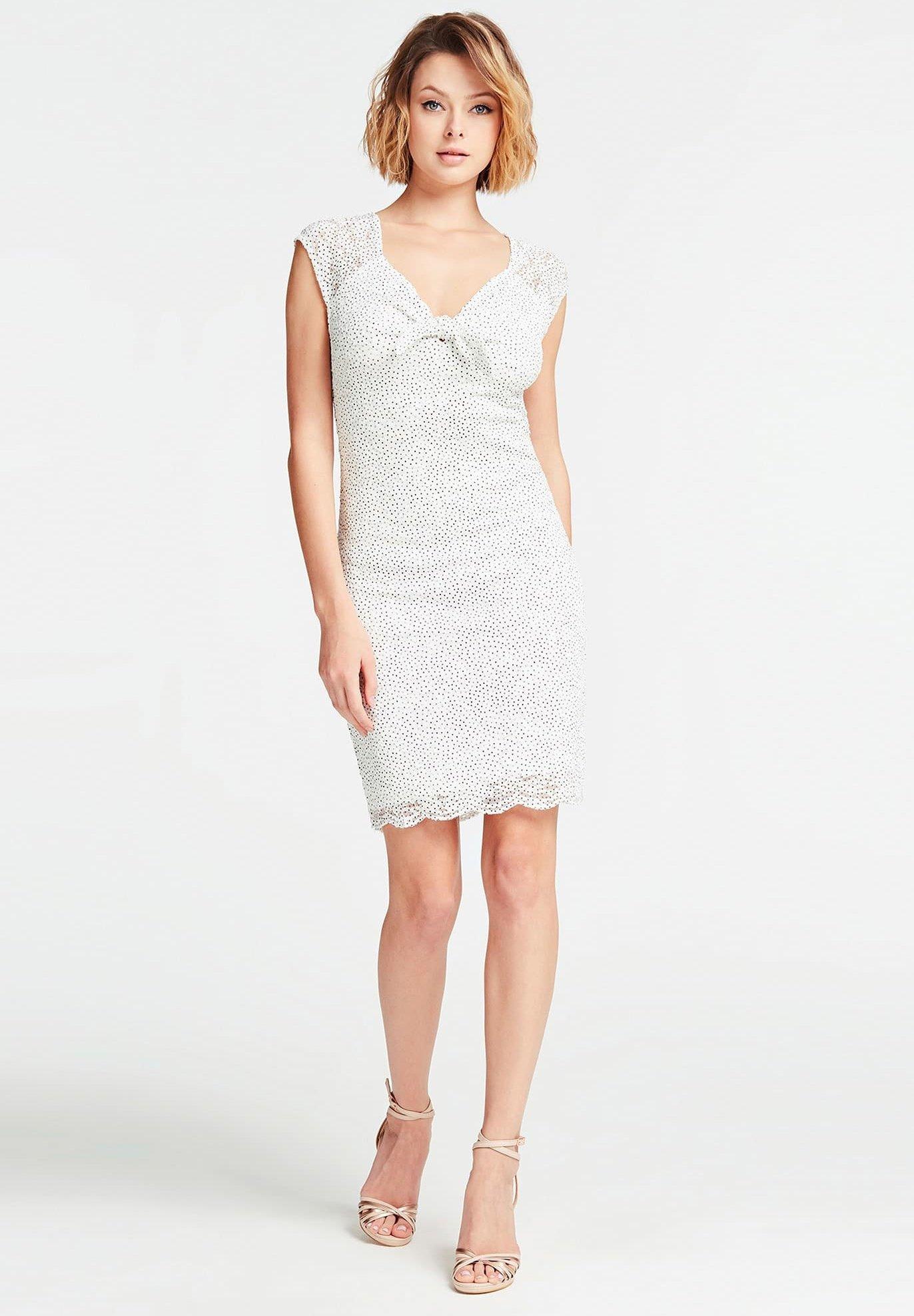 GUESS KLEID MIT PUNKTE-PRINT - Shift dress - weiß